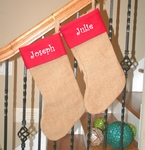 Monogrammed Burlap Christmas Stockings, Personalized Jute Stockings
