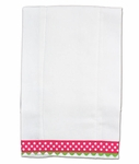 Monogrammed Burp Cloths - Preppy Lime &Pink