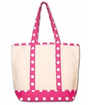 Monogrammed Canvas Tote Bag - Fuchsia Polka Dots