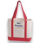 Monogrammed Canvas Tote Bag - Red Trim