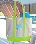 Monogrammed Canvas Tote Bag - Tropical Lime