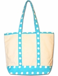 Monogrammed Canvas Tote Bag - Turquoise Polka Dots