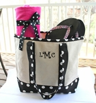 Monogrammed Canvas Totes - Black & White Polka Dots