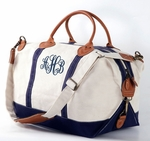 Monogrammed Canvas Weekender Duffle Bag - REAL LEATHER trim