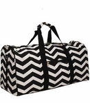 Monogrammed Chevron Print Duffle Bag - Black & White Chevron