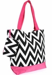 Monogrammed Chevron Print Tote Bag with Pink Trim