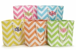 Monogrammed Chevron Print Tote Bags - 5 Color Choices