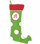 Monogrammed Christmas Stockings - Green & White - Personalized Free!