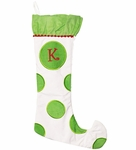 Monogrammed Christmas Stockings - White & Green - Personalized Free!