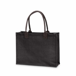 Monogrammed Classic Jute Tote Bag Black - Personalized Free!