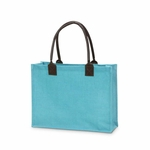 Monogrammed Classic Jute Tote Bag Teal - Personalized Free!