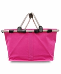 Monogrammed Collapsible Market Tote - Hot Pink