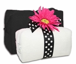 Monogrammed Cosmetic Bags  Set - Black & White