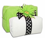 Monogrammed Cosmetic Bags Set - Lime Green & White