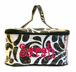 Monogrammed Cosmetic Case - Black & White Swirl