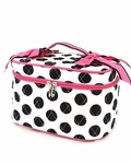 Monogrammed Cosmetic Case - White & Black Dots w/ Fuchsia Trim