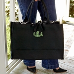 Monogrammed Damask Fabric Tote Bag