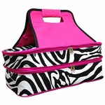 Monogrammed Damask Print Insulated Casserole Tote - Hot Pink Trim