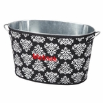 Monogrammed Damask Print Party Tub - Personalized Free