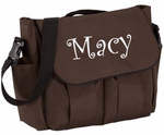 Monogrammed Diaper Bag with Changing Pad- Brown