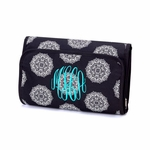Monogrammed Hanging Cosmetic Bag - Black & White Medallions