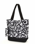 Monogrammed Insulated Beach & Pool Tote - Damask Print