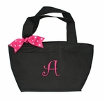 Monogrammed Insulated Lunch Tote Bag with Pink Thread