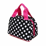 Monogrammed Insulated Lunch Tote Bag - Black & White Dots
