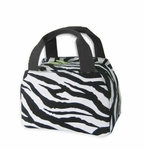 Monogrammed Insulated Lunch Tote Bag - Black & White Zebra