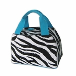 Monogrammed Insulated Lunch Tote Bag - Turquoise Zebra