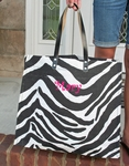 Monogrammed Jute Tote in Zebra Print - Personalized Free!