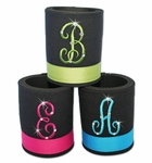 Monogrammed Koozies with Rhinestone Accents