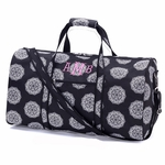Monogrammed Large Duffel Bag - Black & White Medallions