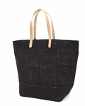 Monogrammed Large Jute Tote Bag - Black - Personalized Free