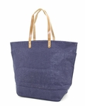 Monogrammed Large Jute Tote Bag - Navy - Personalized Free