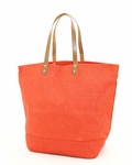 Monogrammed Large Jute Tote Bag - Orange - Personalized Free