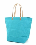 Monogrammed Large Jute Tote Bag - Turquoise - Personalized Free