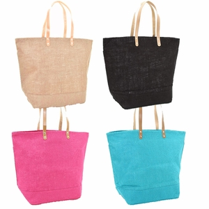 Monogrammed Large Jute Totes - Choose Color - Personalized Free