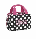 Monogrammed Lunch Bag - Black & White Polka Dots - On Sale This Week Only!