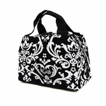 Monogrammed Lunch Tote Bag - Black & White Damask