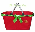 Monogrammed Market Tote - Christmas Red