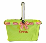Monogrammed Market Tote - Lime With Red Stripes Ribbon