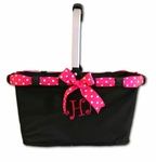 Monogrammed Market Tote with Cute Ribbon Bow