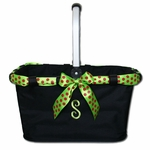 Monogrammed Market Tote with Festive Ribbon