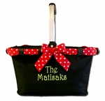 Monogrammed Market Tote with Festive Ribbon - Personalized Free!