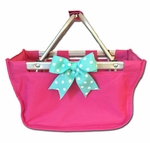 Monogrammed Mini Market Tote - Hot Pink