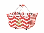 Monogrammed Mini Market Tote - Red Chevron