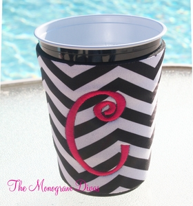 Monogrammed Neoprene Solo Cup Coozie - Black & White Chevron