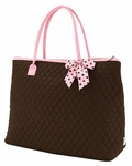 Monogrammed Overnight Tote Bag - Brown & Pink