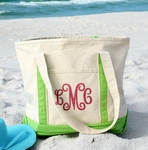 Monogrammed Personalized Beach Bag - Tropical Lime